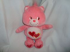 "Care Bears Love A Lot Pink Plush Red Hearts 2002 Stuffed Animal toy 10"" #CareBear #ValentinesDay"