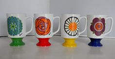 """Vintage 1970s Flower Power Footed Mugs Set of 4-Royal Crown by Arnart-""""Picasso"""""""
