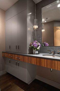 Modern Master Bathroom Design by LiLu Interiors Contemporary Interior, Modern Interior Design, Powder Room Design, Small Bathroom, Bathroom Ideas, Master Bathroom, Grey Cabinets, Modern Bathroom Design, Decoration