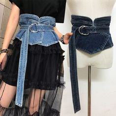Denim Canvas Smooth Buckle Belts For Women Wide Waist Corset Belt Waistband Vintage Casual Slimming Bandage Cinto Straps Denim Fashion, Fashion Outfits, Diy Vetement, Denim Ideas, Denim Crafts, Fashion Details, Fashion Design, Recycled Denim, Mode Outfits