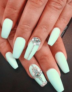 Mint green nail art @thefreshestnailart. I love the colour and the shape of these nails but not sure about the rhinestones. Gorgeous still xx