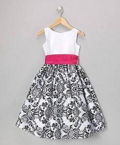 Look at this Kid's Dream Fuchsia & Black Damask Velvet Dress - Infant, Toddler & Girls by Kid's Dream Little Girl Fashion, Kids Fashion, The Dress, Baby Dress, Dress Girl, Toddler Girl Dresses, Toddler Girls, Infant Toddler, Infant Girls