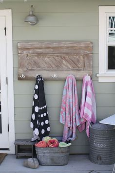 Towel rack by the back door - plenty of time to make/install before pool season!