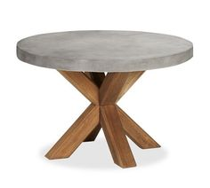 Abbott Faux-Concrete Top Round Fixed Dining Table & Saybrook Armchair Set | Pottery Barn