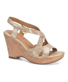 Look at this Soft Gold Vivien Leather Wedge Sandal on #zulily today!