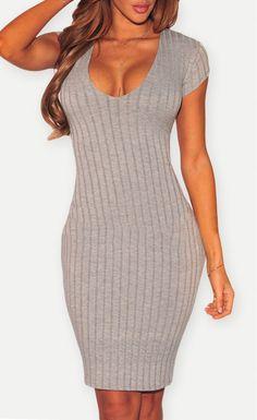 $26.99  Plunge V Neck Ribbed Bodycon Dress