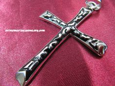 316L Stainless Steel Cross Pendants for Men with Black Raised Inlay