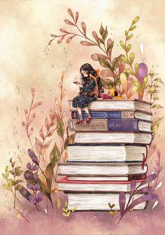 책 속엔 내가 모르는 세상이 너무도 넓어 그 속의 나는 한참이나 작아 보이지만, 한 권, 두 권 지식이 높게 쌓일수록 나의 작은 생각들도 조금은 성장한 것 같은 생각이 듭니다.  The world that I do not know is extensive inside the book. I might look small in that world, but I feel that my small thoughts are slightly growing as I gain knowledge with each of the book.
