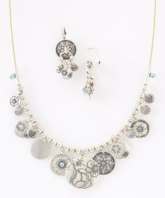 Look at this #zulilyfind! Silver & Blue Floral Coin Necklace & Drop Earrings #zulilyfinds