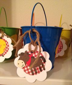 12 farm animal red gingham party favor tags country western cowgirl cowboy party barnyard on Etsy, $15.00