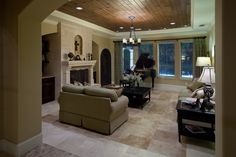 travertine flooring living room | frames a polished travertine floor in the formal living room ...