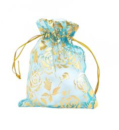 Organza Bags - 15 Light Blue Drawstring Bags with Roses - 12cm x 10cm Sheer Bags - Bags for Jewelry - Party Favor Bag - Decorative Bags #craftsupply #craftsupplies #etsy