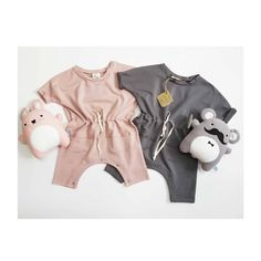 The most stylish baby romper! Dusty pink for girls! 💗 Gray for boys!🖤 Lovely plush toys by Stylish Baby, Dusty Pink, Organic Cotton, Plush, Rompers, Gray, Toys, Stuff To Buy, Clothes