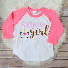 Birthday girl unicorn shirt, Unicorn birthday party, matching unicorn, unicorn theme birthday, unicorn birthday shirt, birthday raglan Welcome to JADEandPAIIGE! Below is a list of sizing and washing instructions for our products!Please remember the ink is fresh, so please be cautious