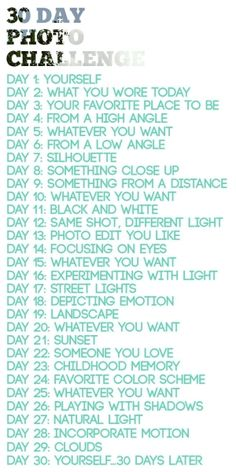 Photo-A-Day Challenge 30 Day Photo Challenge Cool idea.might help me work on my photography Day Photo Challenge Cool idea.might help me work on my photography skills! Photography Challenge, Photography Projects, Photography Tips, Photography Tutorials, Creative Photography, Inspiring Photography, Portrait Photography, Iphone Photography, Digital Photography