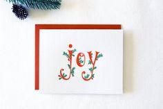 Holiday Joy Letterpress Cards. Set of 6 by paperlovelypress