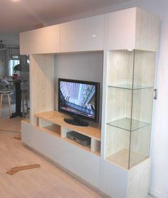 Brent Entertainment Center White Glass Fronts