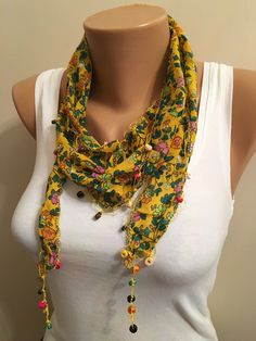 A personal favorite from my Etsy shop https://www.etsy.com/listing/269834720/yellow-floral-scarfflower-scarfwomens