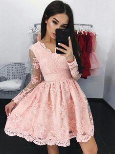 Chic Homecoming Dress V-neck Lace A-line Pink Short Prom Dress Party Dress JK494
