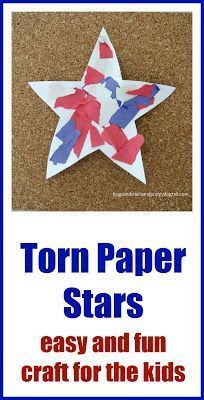 Patriotic Torn Paper Stars: easy and fun craft for the kids - FSPDT