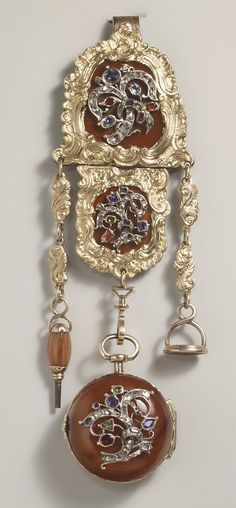 Vintage Watches Collection : Gold agate diamond sapphire and Ruby watch and chatelaine German The Met. Antique Watches, Antique Clocks, Vintage Watches, Antique Jewelry, Gold Jewelry, Vintage Jewelry, Jewellery, Do It Yourself Jewelry, Bling