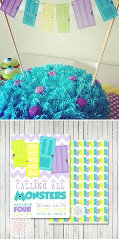 Monster Inc / Monsters University Cake by petite party #Party Ideas| http://my-party-ideas-collections.blogspot.com