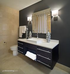 A square cut mirror, european pulls, running bond tile and a floating vanity create a shabby chic bathroom design. Simple Bathroom, Bathroom Remodel Shower, Bathroom Decor, Restroom Renovation, Small Remodel, Cheap Bathroom Remodel, Shabby Chic Bathroom, Half Bathroom Remodel, Small Bathroom Upgrades