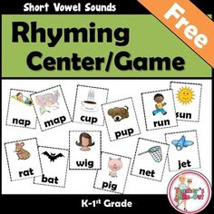 FREEBIE! Rhyming Concentration has 24 pairs of cards to match short vowel words. Use for a Concentration Game or Reading Center