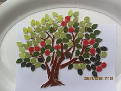 mosaic apple tree ceramic leaves apples blossom trunk branches by RedShedCeramics on Etsy