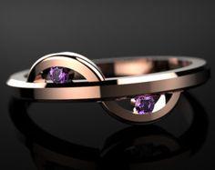 Rose Gold Amethyst Ring Rose Gold Engagement Ring Gemstone Engagement Ring Amethyst Engagement Ring Gemstone Ring February