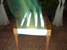 eco table in euro pallet with blue light