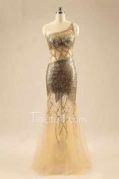 Sexy Illusion Sheath One Shoulder Long Prom Dress With Sequins Cutcouts
