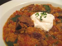 Curried Beef and Red Lentil Stew, a recipe on has spinach and yogurt sounds good