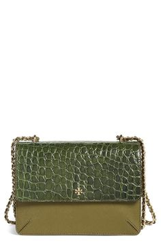 07ee964a9777 Swooning over this croc-embossed crossbody bag by Tory Burch in a rich  olive green
