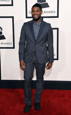 Usher from Best Dressed Men at the 2015 Grammys...Yeah! The 36-year-old keeps it cool with a charcoal suit and LouisLeeman shoes.
