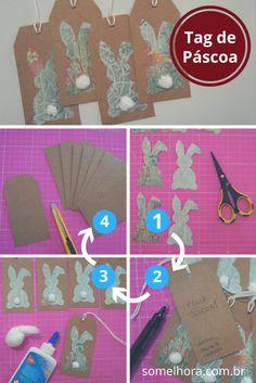 DIY Tag de Páscoa: para deixar seus presentes mais charmosos! Passo a passo bem explicadinho de como fazer essas tags de scrapbook para a Páscoa. Vem aprender e fazer também! Tags de coelho | DIY de Páscoa | Presentes de Páscoa #pascoa E Cards, Gift Bags, Diy For Kids, Tags, Creations, 1, Easter, Gifts, Gabriel
