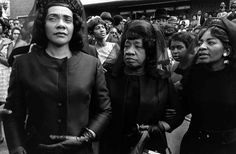 Leaving church after the funeral of Reverend Dr. Martin Luther King, Jr.: Coretta Scott King; Alberta Williams King, King's mother; and Christine Farras, King's sister.  (© Bob Fitch, Atlanta, Georgia, 1968)