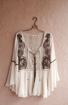 Free People Fall colors beaded Juliet sleeve romantic tunic in silk