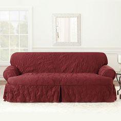 Sure Fit Matelasse Damask T-Cushion Sofa Slipcover, Red