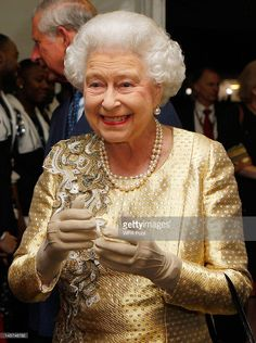 Queen Elizabeth II meets guests backstage after the Diamond Jubilee, Buckingham Palace Concert on June 04, 2012 in London, England.