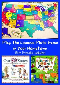 Awesome books that teach kids about the states + a free map to play 'The License Plate' game this summer!