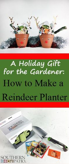 Perfect for a traditional Christmas gift or a White Elephant Gift Exchange!  A festive reindeer planter filled with gardening essentials this holiday season is a terrific gift for any gardener!