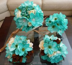 Teal Bridal Bouquet, Maid of Honor, and Brides Maids Bouquets