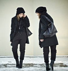 Love androgynous fashion on girls. Especially in black.