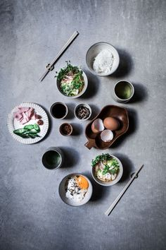 A traditional japanese breakfast of tamago kake gohan (japanese rice and egg bowl) with furikake and a side of yuzo miso soup. | Food | Food Styling | #foodstyling #food | www.foragekitchen.com