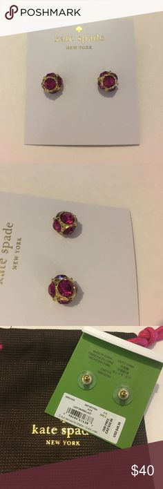 "Kate Spade Stud Earrings Comes with Kate Spade Dust Bag Approx. diameter: 3/8"". Metal:Gold plated base Material:Crystal.                                                           Color: Pink.                                                                     💖 kate spade Jewelry Earrings"