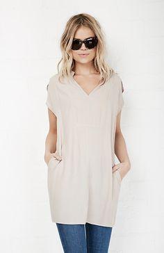 MK Tencel Tunic Dress in Beige S - L   DAILYLOOK