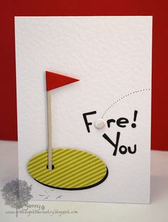 Cute birthday card for a guy, golf themed. Easy to make with scraps of paper and a sharpie. Cute birthday card for a guy, golf themed. Easy to make with scraps of paper and a sharpie. Golf Birthday Cards, Handmade Birthday Cards, Birthday Gifts, Diy Birthday, Male Birthday, Birthday Ideas, Masculine Birthday Cards, Masculine Cards, Cute Cards