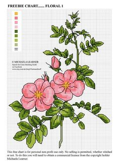 FREEBIE CHART....FLORAL 1. Pick your own shades and have some fun with this lovely versatile floral design. Stitch part of it for a card or all of it for a gorgeous picture. Don't forget to share with friends family and stitching groups!  .....also it's good to be back!!!! #DMC #Threads #crossStitch #etamin #embroidery #fabric #decorate #pattern #ornament