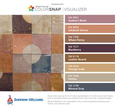 I found these colors with ColorSnap® Visualizer for iPhone by Sherwin-Williams: Audrey's Blush (SW 9001), Subdued Sienna (SW 9009), Wheat Penny (SW 7705), Blackberry (SW 7577), Leather Bound (SW 6118), Vintage Gold (SW 9024), Portico (SW 7548), Mineral Gray (SW 2740).